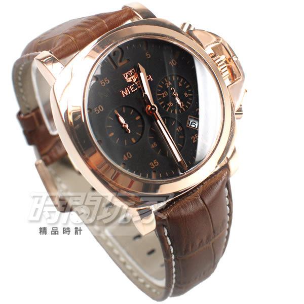MEGIR 不對稱 大錶徑真三眼時尚男錶 防水手錶 日期顯示 皮革錶帶 玫瑰金x咖啡 ME3006咖玫