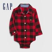 Gap嬰兒 時尚撞色格紋翻領長袖包屁衣 615702-紅色方格