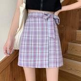 百摺裙綁帶格子半身裙女夏季2020年夏天新款氣質高腰顯瘦防走光百摺裙 雙11 伊蘿