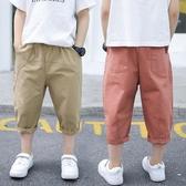 男童褲子七分褲夏季薄款中大童韓版短褲純棉兒童裝夏裝寶寶中褲潮 快速出貨