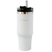 風格304不鏽鋼吸管杯890ml 白
