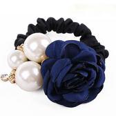 新款 名媛風 珍珠水鑽 花朵髮束 Nt010 ◆ 韓妮小熊
