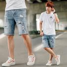 短褲 韓國製抽鬚刷破補丁彈性牛仔短褲【N...