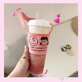 韓風可愛印花卡通飲料奶茶杯套環保帆布袋防燙 【快速出貨】