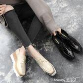增高鞋 方頭鬆糕鞋女英倫風厚底秋季百搭休閒繫帶黑色內增高單鞋【小天使】