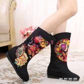 秋冬中筒靴老北京布鞋女靴復古民族風繡花靴子內增高棉靴單靴 可可鞋櫃