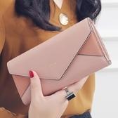 零錢包 KQueenStar女士錢包 女2018年新款日韓大鈔夾磨砂信封錢包皮夾