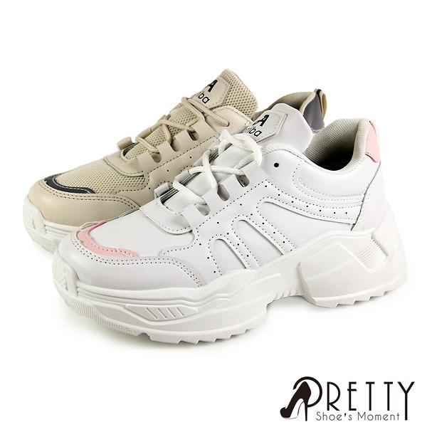 N-29015 女款老爹鞋 網布透氣拼接皮革厚底綁帶運動風休閒鞋/老爹鞋【PRETTY】