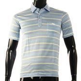 LONGCHAMP 經典純棉夏季條紋短T恤-L(藍底-黃白條紋)179240-7