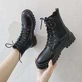 黑色馬丁靴女2020年新款瘦瘦靴網紅厚底春秋單靴系帶英倫風機車靴
