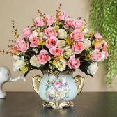 歐式仿真干花客廳家居擺設盆栽套裝飾品擺件室內餐桌茶幾塑料假花   mandyc衣間