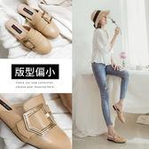 Ann'S個性派女子-不破內裡訂製份量金釦皮革穆勒鞋-棕