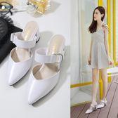 春款鞋女夏季新款尖頭高跟半拖鞋女中跟粗跟無后跟懶人鞋涼拖