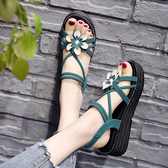 涼鞋女 涼鞋女仙女風夏百搭學生鞋子ins潮夏季時尚厚底松糕女鞋