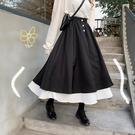 半身裙新款高腰女夏學生韓版顯瘦暗黑系復古花瓣中長款A字裙