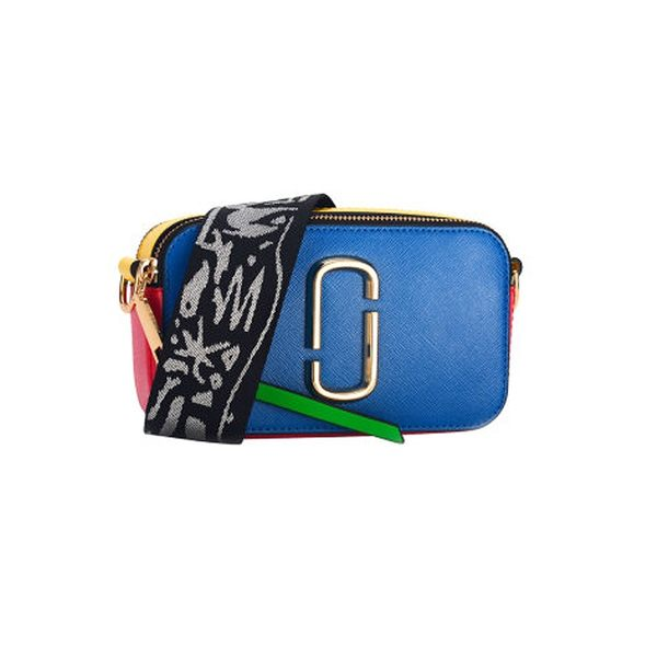 MARC JACOBS M0012007464 女士SNAPSHOT系列寶藍色多色拼接色牛皮小相機包