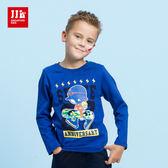 JJLKIDS 男童 滑板少年印花純棉上衣(彩藍)