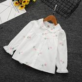 小童韓版花朵刺繡襯衣寶寶百搭棉長袖上衣