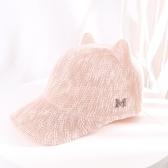 夏女帽棒球帽可愛軟妹韓版日系純色鴨舌帽潮防曬帽時尚貓耳朵帽子
