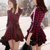 洋裝 新款修身長袖紅色格子氣質收腰秋冬款襯衫裙子春裝連身裙【諾克男神】