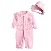 新生兒連身衣 空氣棉蕾絲睡袋 附帽子兩用睡衣 睡袋 居家服 92039