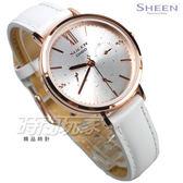SHEEN SHE-3064PGL-7A 優雅迷人 三眼多功能錶 鑲鑽 玫瑰金 皮帶 女錶 SHE-3064PGL-7AUDF CASIO卡西歐