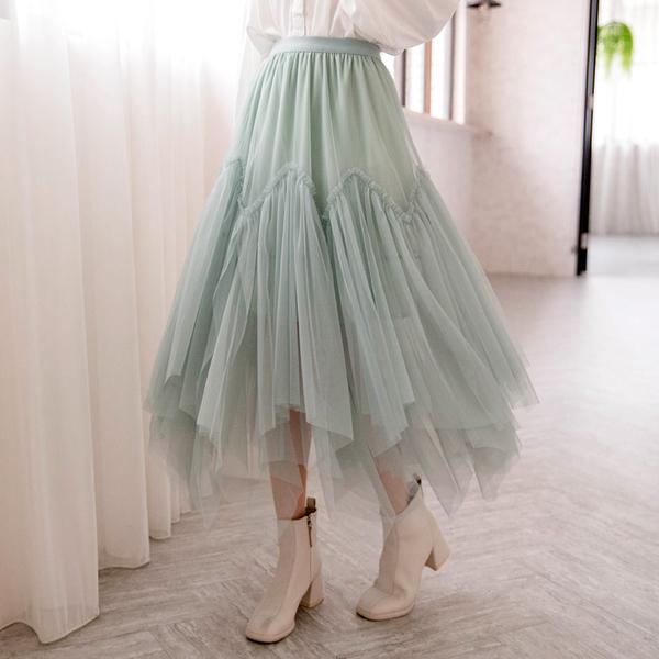 ★冬裝上市★MIUSTAR鬆緊雙層網紗蕾絲長裙(共4色)【NG002252】預購