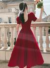 敬酒服新娘酒紅色小個子訂婚禮服裙平時可穿回門答謝宴顯瘦女秋季連身裙晚禮服2021新款
