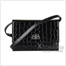 BALENCIAGA 巴黎世家Sharp XS銀字LOGO鱷魚紋設計牛皮釦式肩背/腰包(黑)