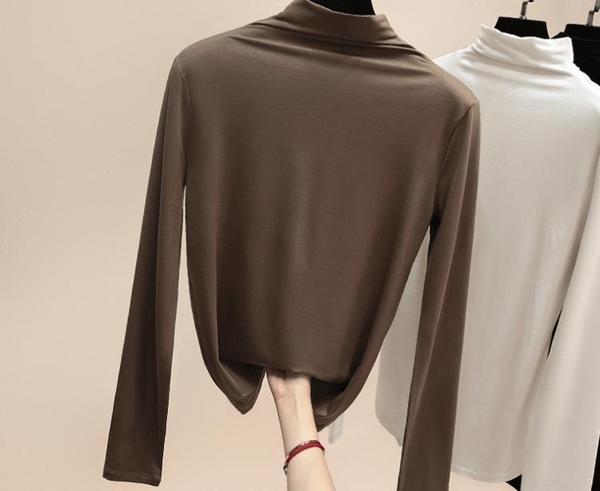 長袖T恤        t恤女長袖半高領加絨加厚打底衫百搭內搭上衣  瑪麗蘇