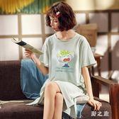 月子服 哺乳睡裙夏短袖孕婦睡衣薄款大碼哺乳連衣裙喂奶裙 qz6457【野之旅】
