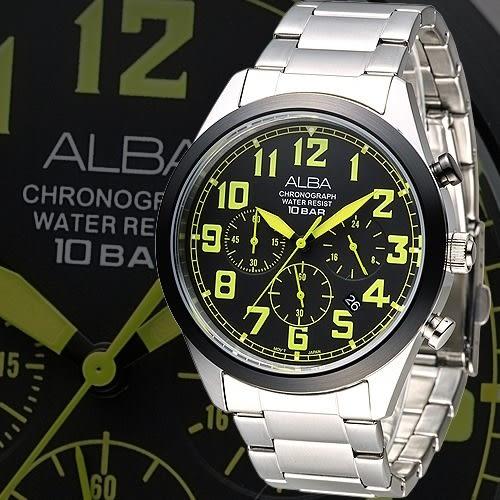 ALBA 個性潮流三眼碼錶計時男錶-綠刻/IP黑框(AT3531X1)【屈臣氏】
