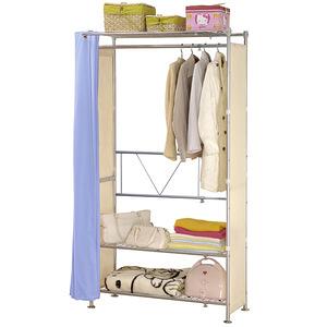 巴塞隆納─AG-03三層層板伸縮衣櫥V型設計強化結構前布簾水藍色不織布