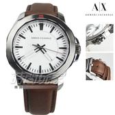 A|X ARMANI EXCHANGE 雅痞簡約都會男錶 真皮錶帶 防水手錶 黑x白x咖啡 AX1903