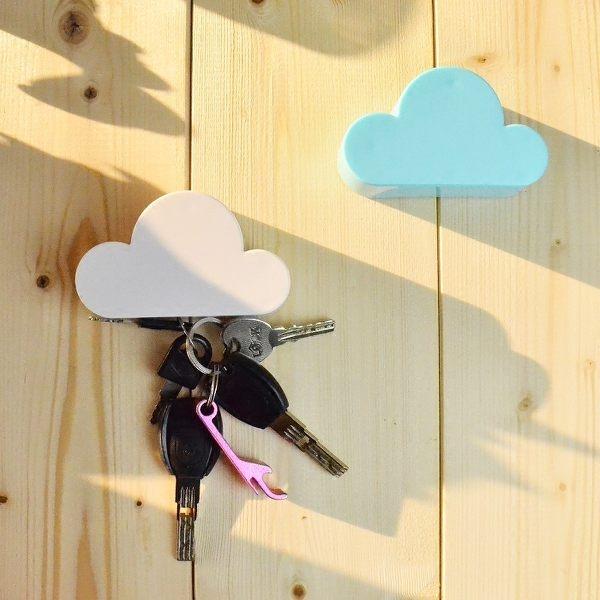 【01100】 磁鐵雲朵鑰匙收納器 鑰匙圈 工具收納