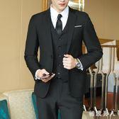 男士西服套裝三件套青少年韓版結婚正裝單西外套修身休閑小西裝 LN594 【極致男人】