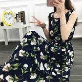 棉麻洋裝~波西米亞碎花連身裙女無袖民族風海邊度假裙長裙698#MB119莎菲娜