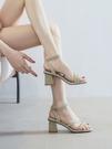 一字帶粗跟涼鞋女仙女風2021年新款夏天高跟鞋少女士ins百搭配裙