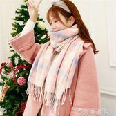 秋冬季女士圍巾女冬季韓版長款學生格子大披肩加厚兩用百搭圍脖 薔薇時尚