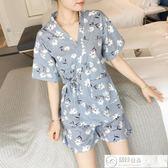 浴袍 日式和服睡衣女夏純棉短袖韓版清新學生薄款可外穿家居服兩件套裝 居優佳品