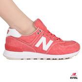New Balance 新竹皇家 574 珊瑚紅 布質 條紋 休閒運動鞋 女款 NO.I8456
