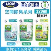 *KING WANG*日本LION獅王-空間除臭系列《臭臭除補充包-無香味/薄荷香/綠茶香》320ML