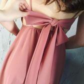 週年慶優惠-沙灘裙金 甜美粉色後背繫帶雪紡露背女神度假裙沙灘長裙海邊吊帶裙