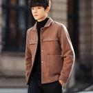 潮流時尚韓版大衣造型百搭男款短版大衣外套