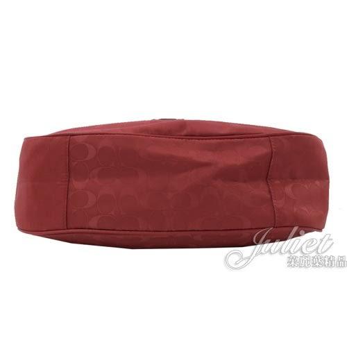 茱麗葉精品【全新現貨】 COACH 73185 馬車LOGO字母印花尼龍肩背彎月包.紅