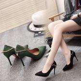 婚鞋職業尖頭鞋高跟鞋黑色絨面淺口細跟百搭女單鞋子 俏腳丫