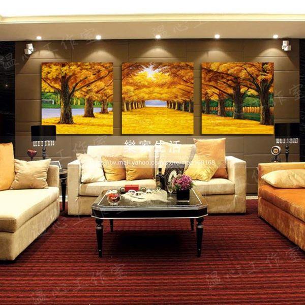 黃金大道掛畫沙發背景墻裝飾畫走廊客廳臥室無框畫冰晶玻璃墻壁畫LJ-209312