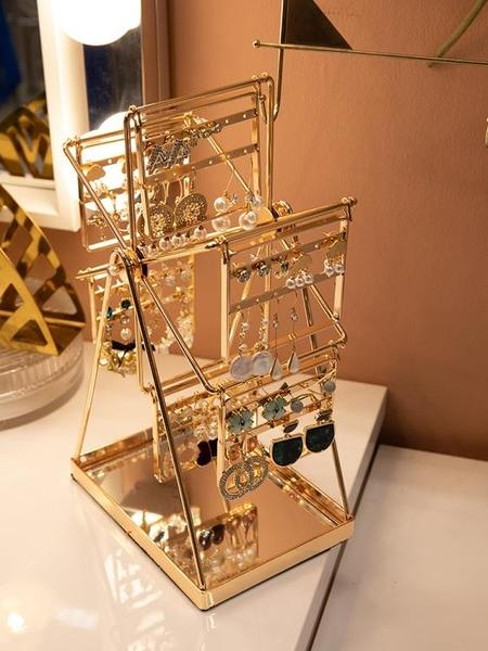 摩天輪耳環架放飾品耳釘架子女家用創意旋轉首飾展示架耳環收納架ATF 格蘭小鋪