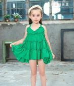 女童連身裙夏裝洋氣雪紡公主寶寶吊帶1-3歲紅6兒童沙灘裙海邊度假 麥琪精品屋