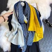棉麻圍巾春秋冬季洋氣時尚披肩外搭女百搭薄款兩用長絲巾圍脖韓版 韓國時尚週
